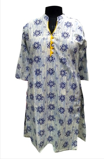 CHITRA D12 - Cream/Blue Printed Kurti