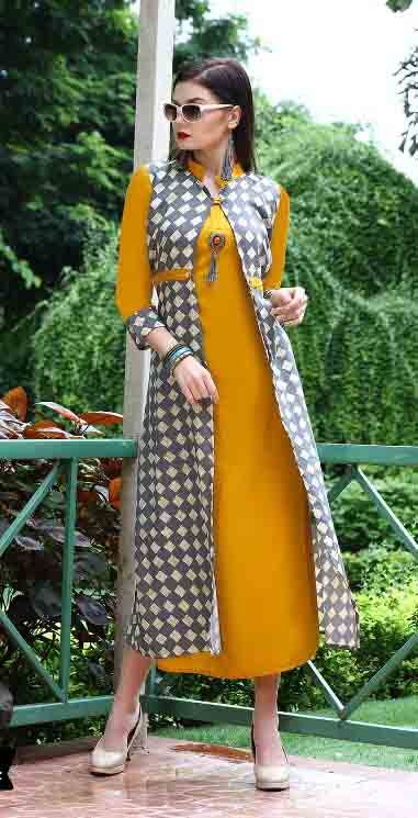 SMC BLESS 01-D NO 4 WMN KURTI WITH LONG JACKET