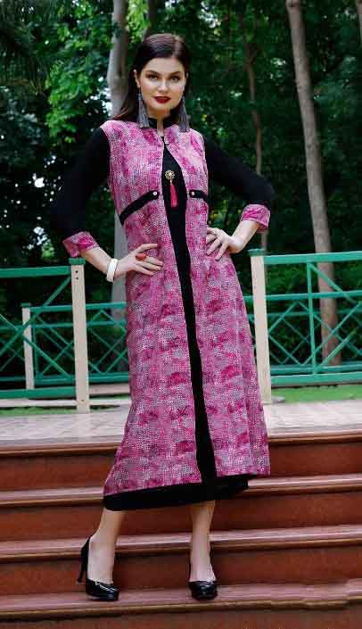 SMC BLESS 01-D NO 7 WMN KURTI WITH LONG JACKET