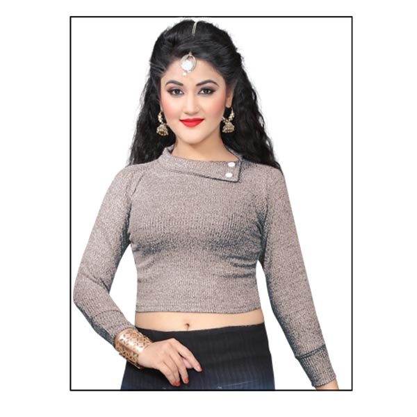 FANCY HC 121-GRAY WMN FULL SLEEVES BLOUSE WITH COLLAR