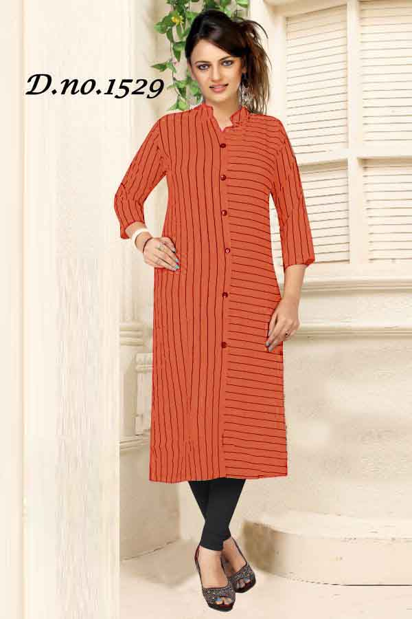 SUF 1529-ORANGE WOMEN KURTI