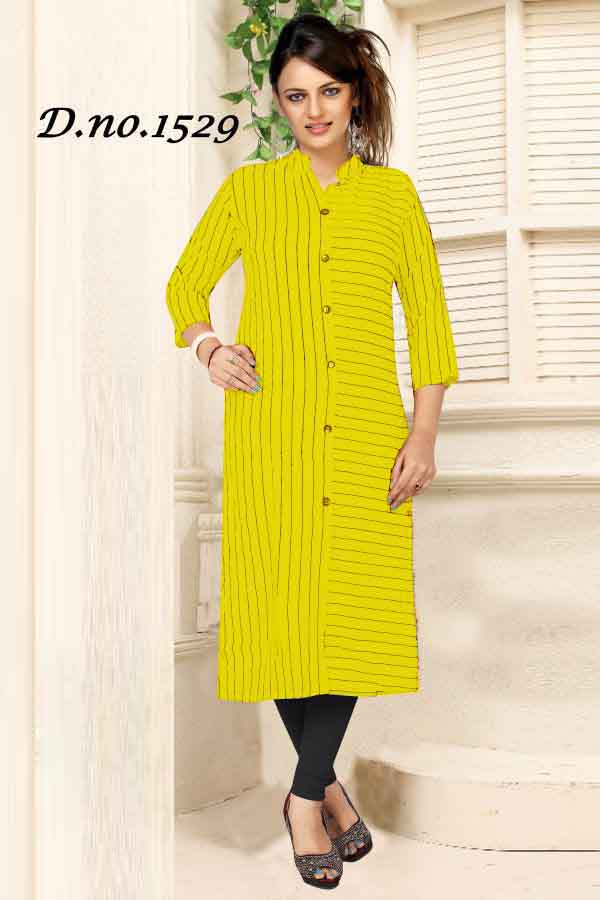 SUF 1529-YELLOW WOMEN KURTI