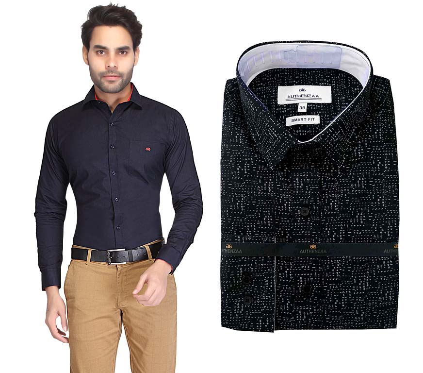 TA 028-BLACK PRINT FORMAL SHIRT
