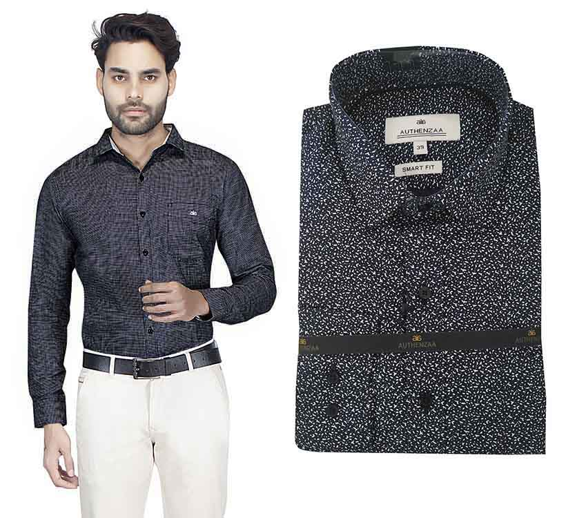 TA 049-BLACK PRINT FORMAL SHIRT