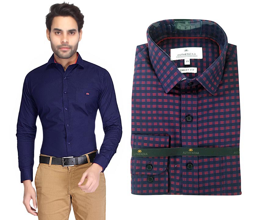 TA 050-BLUE BOX PRINT FORMAL SHIRT