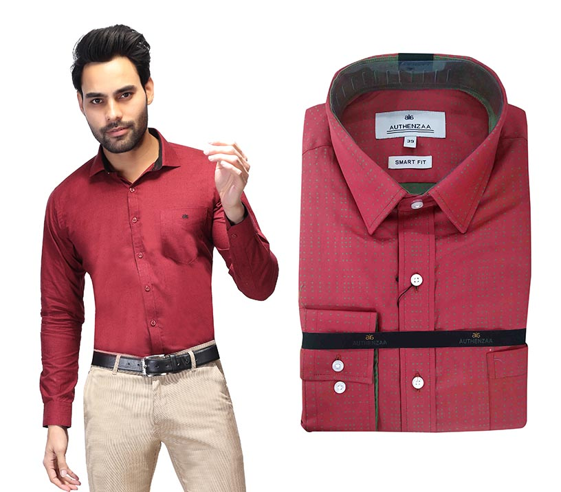 TA J 3753-RED FORMAL SHIRT