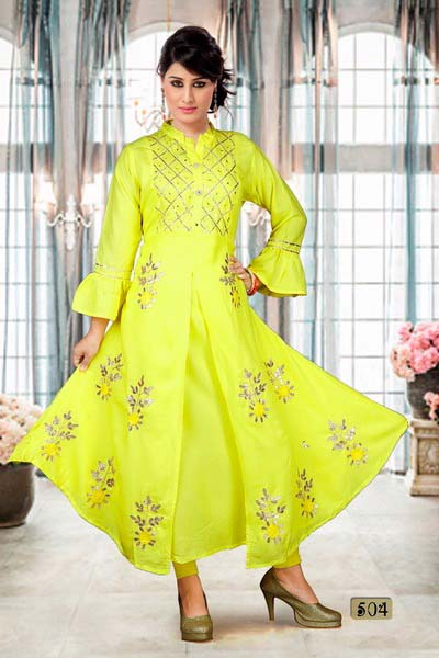 SUF GOTA PATTI WORK-YELLOW WOMEN KURTI
