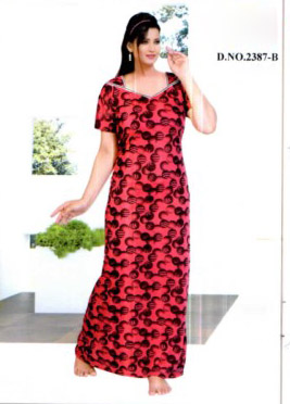 WMN VISCOSE PRINT NIGHTY -DARK PINK-KC MAY 2387
