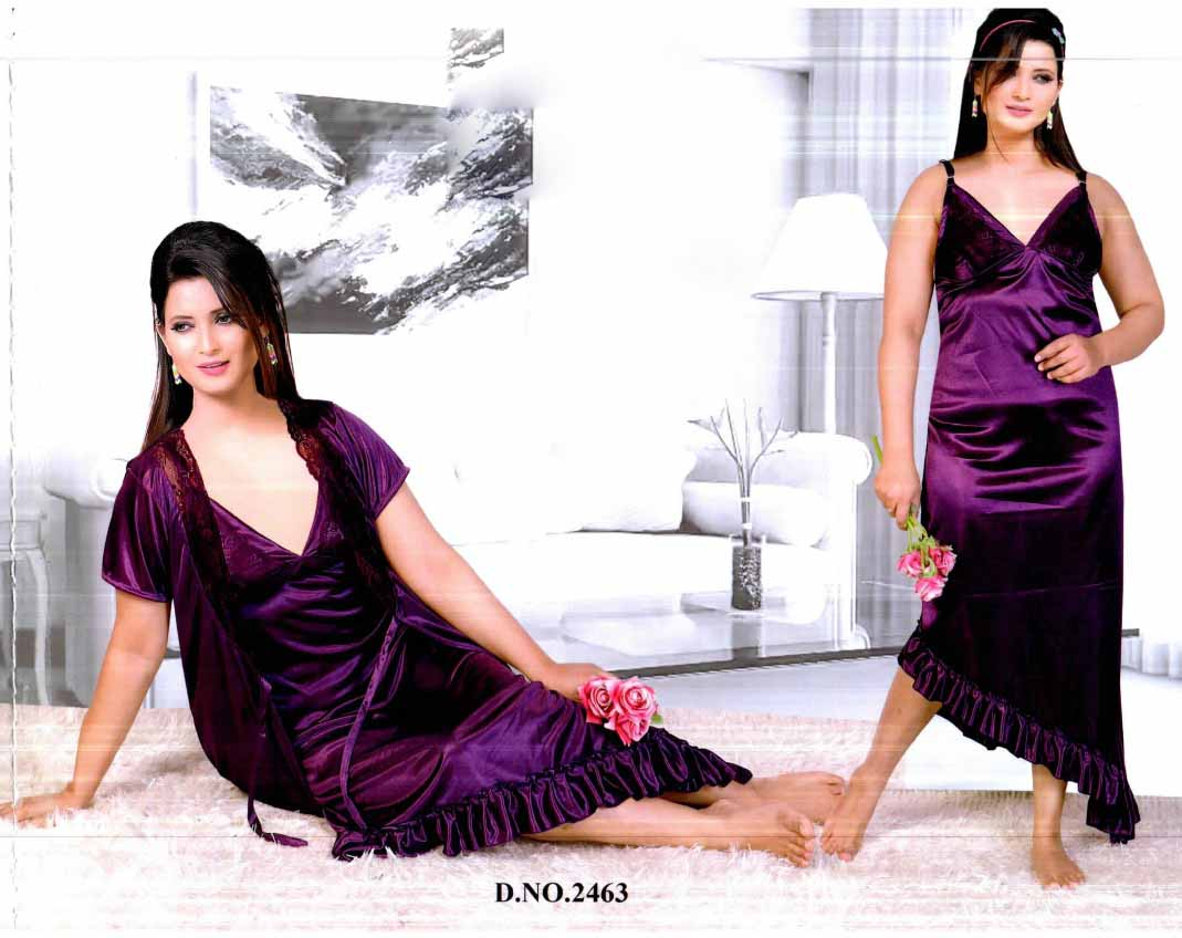 WMN SATIN TWO PIECE NIGHTY-PURPLE-KC APL 2463