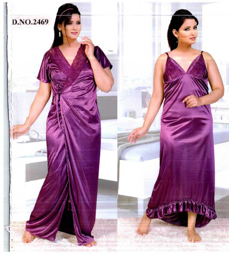 WMN SATIN TWO PIECE NIGHTY-MAROON-KC APL 2469