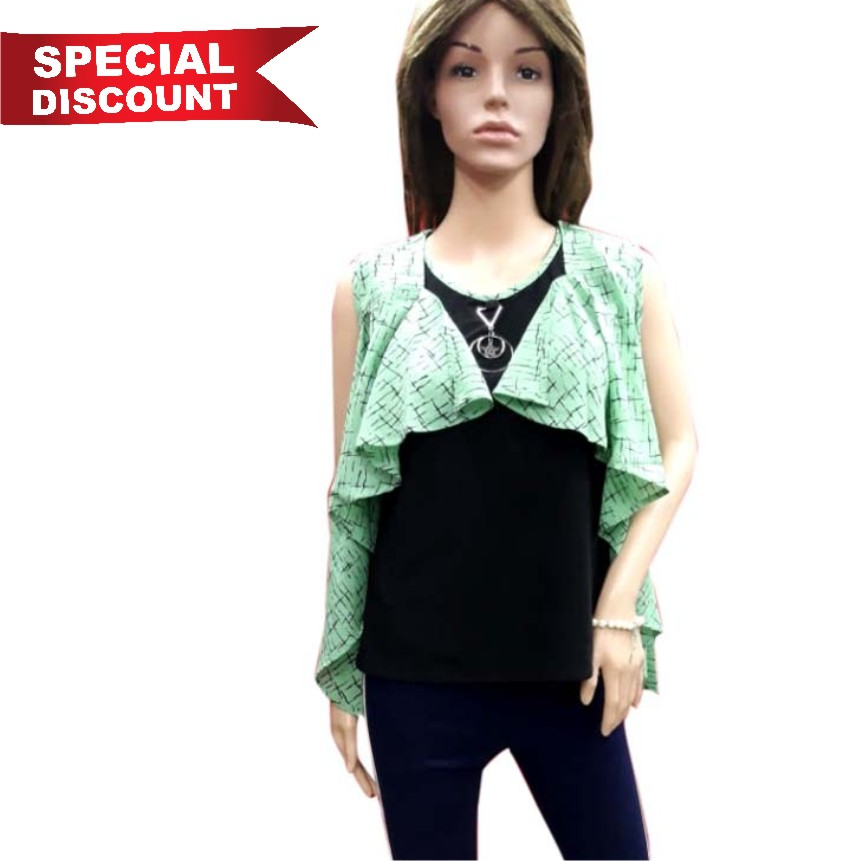 WOMEN TOP-GREEN-HT FANCY TOP 12