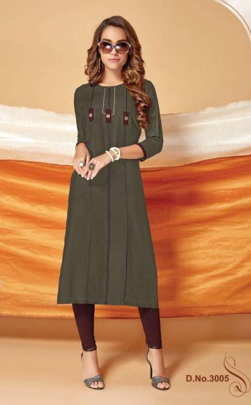 SUF REYA 3005-DARK GREEN WOMEN KURTI
