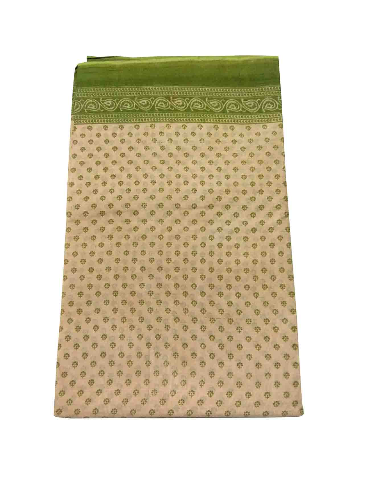 WMN COTTON SAREE WITHOUT BLOUSE-GREEN-AT COTTON PRINT D NO 3