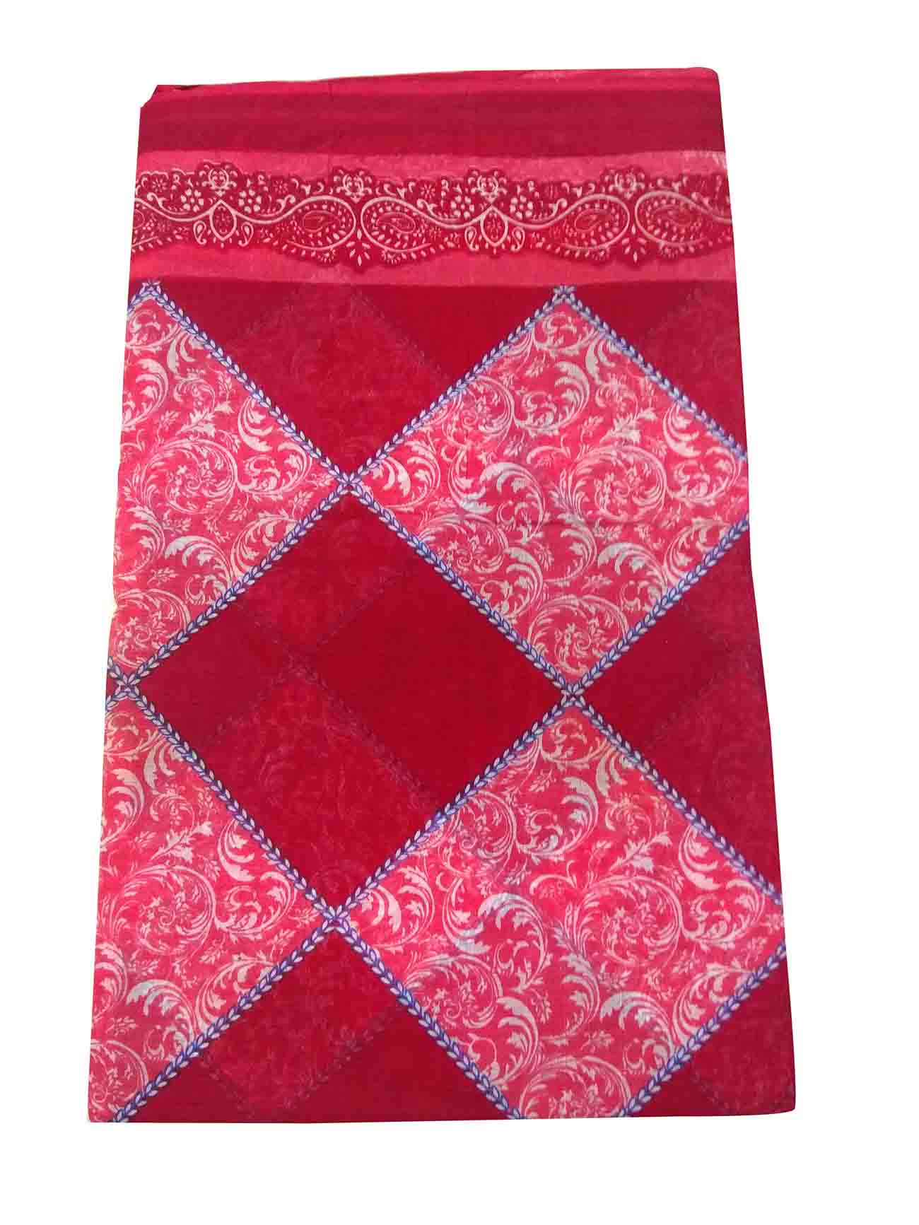 WMN COTTON SAREE WITHOUT BLOUSE-RED-AT COTTON PRINT D NO 2