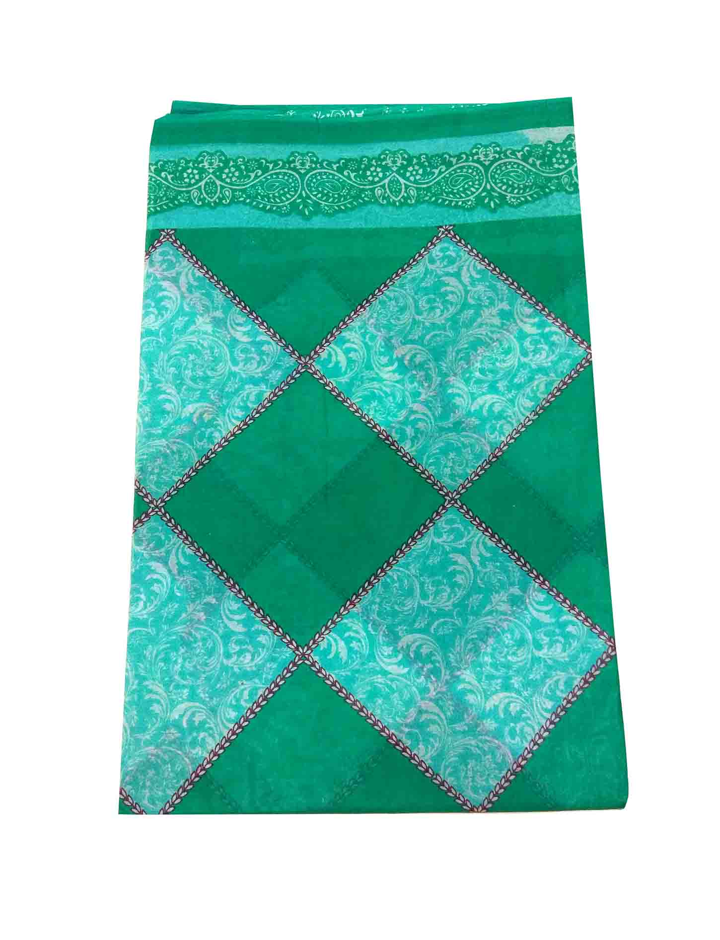 WMN COTTON SAREE WITHOUT BLOUSE-GREEN-AT COTTON PRINT D NO 2