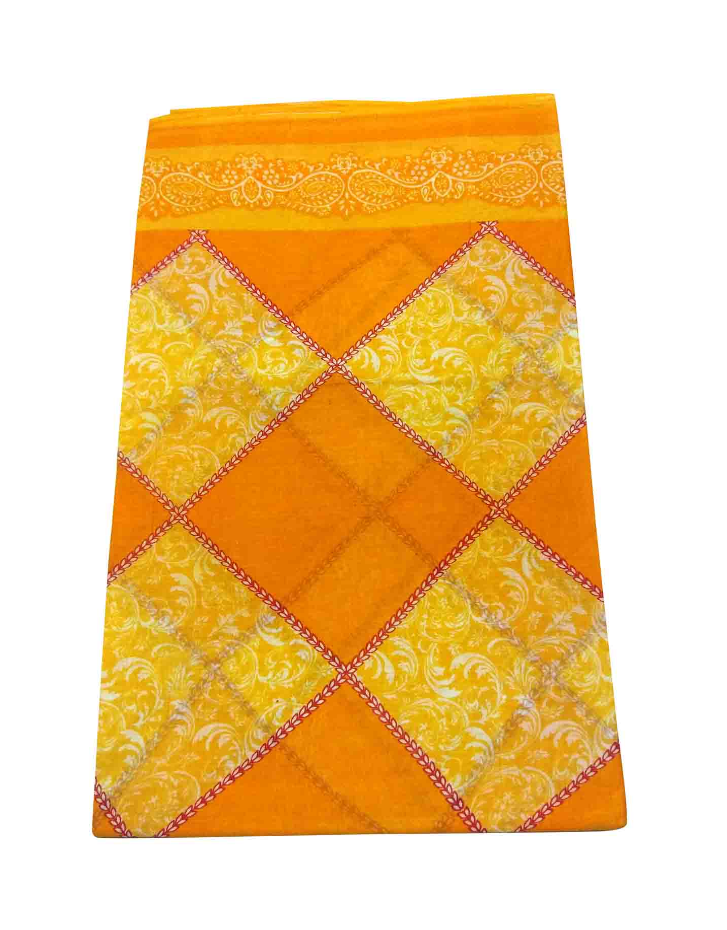WMN COTTON SAREE WITHOUT BLOUSE-YELLOW-AT COTTON PRINT D NO 2