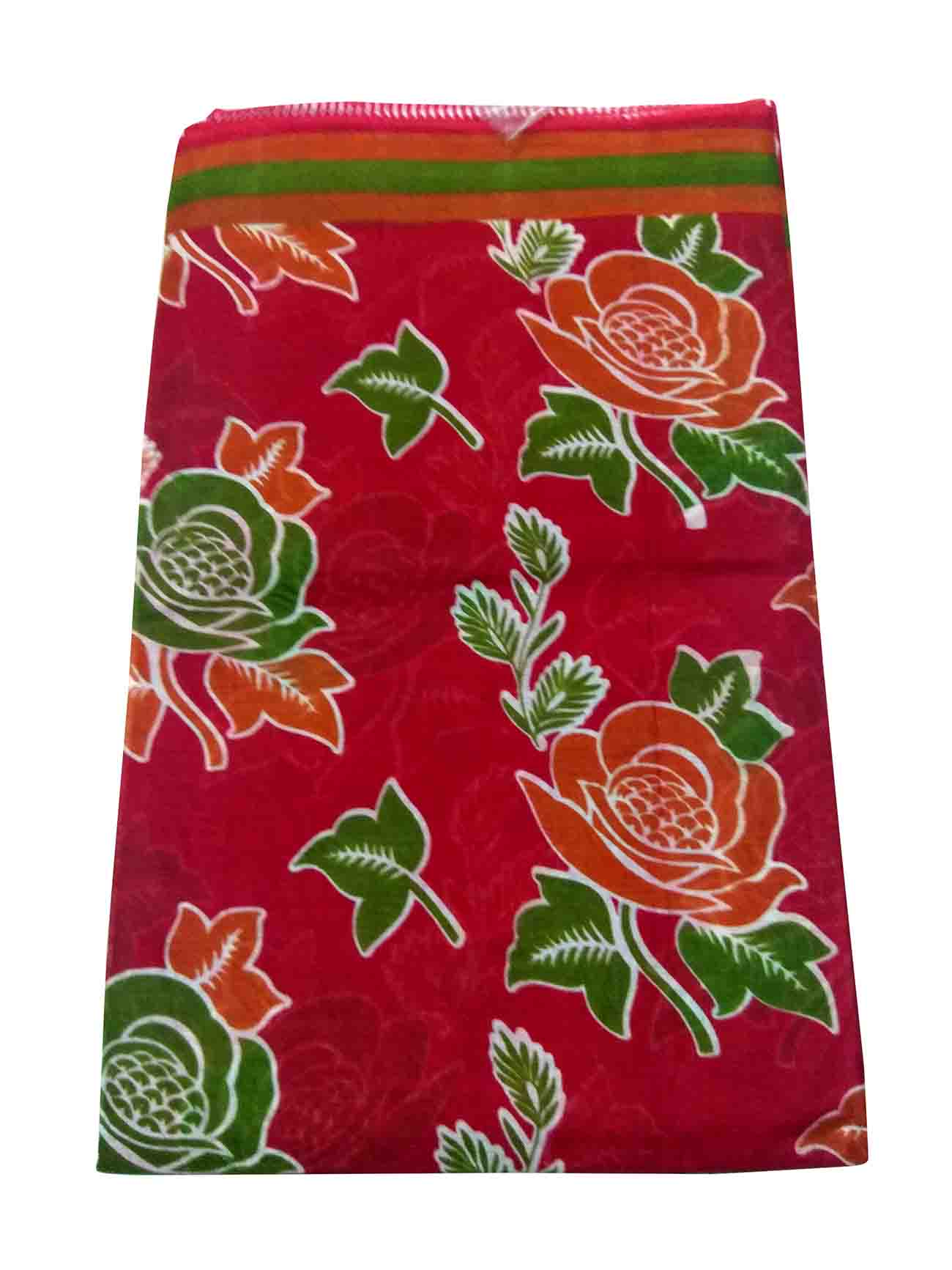 WMN COTTON SAREE WITHOUT BLOUSE-RED-AT CTN PRINT DNO 7