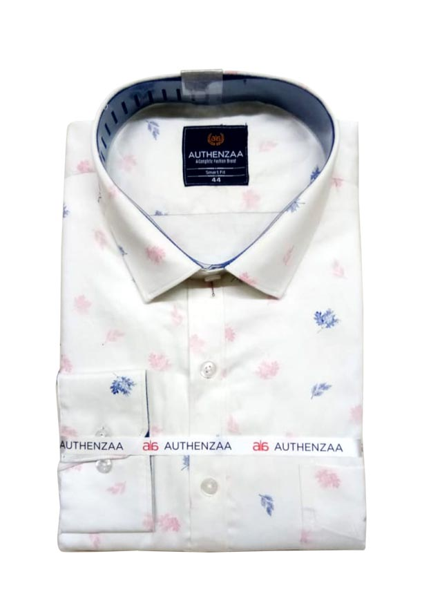 BT APL RAPIER 01-WHITE NAVY PRINT FORMAL SHIRT