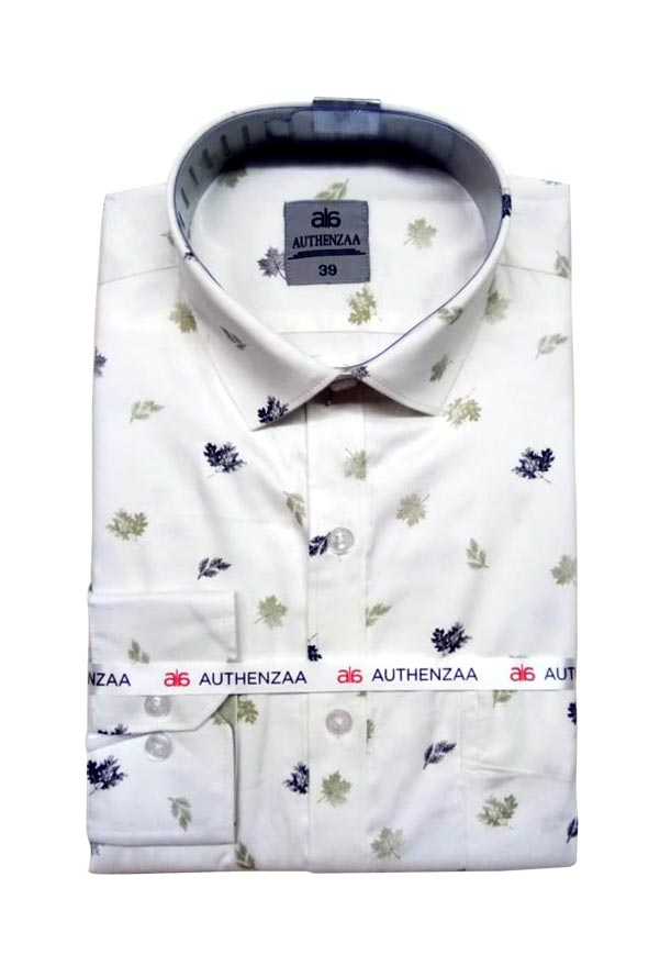 BT APL RAPIER 01-WHITE BLACK PRINT FORMAL SHIRT