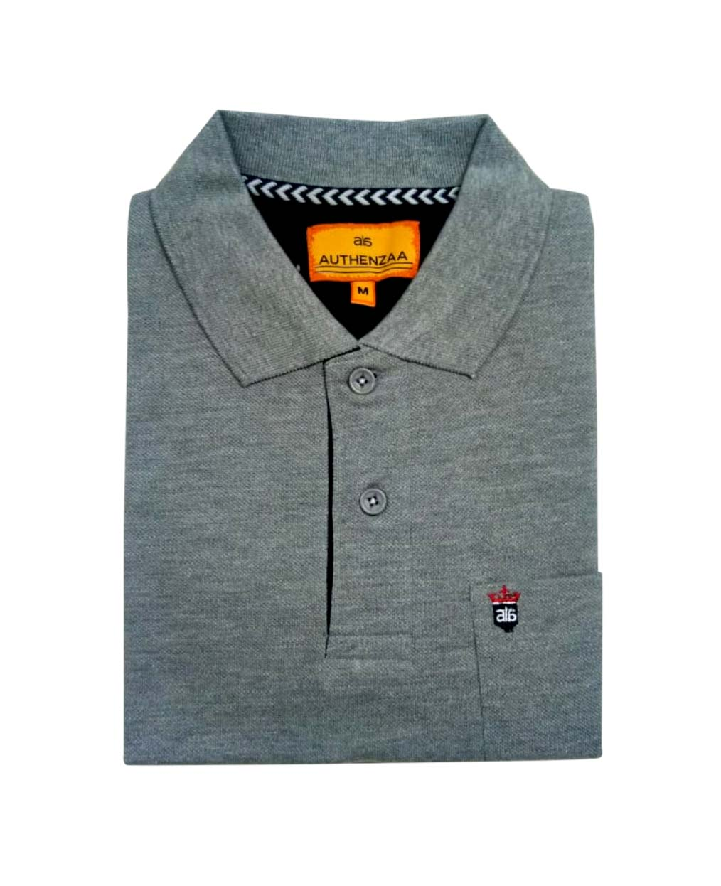 RPT APL 395-GRAY MELANGE POLO T SHIRT