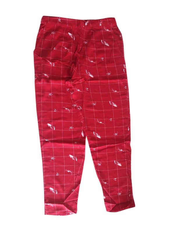 SOMAYA D NO 7-RED CHECKS WMN PANT
