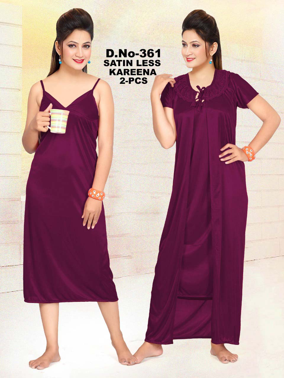 SATIN TWO PIECE NIGHTY-DARK PURPLE-KC MAY 361