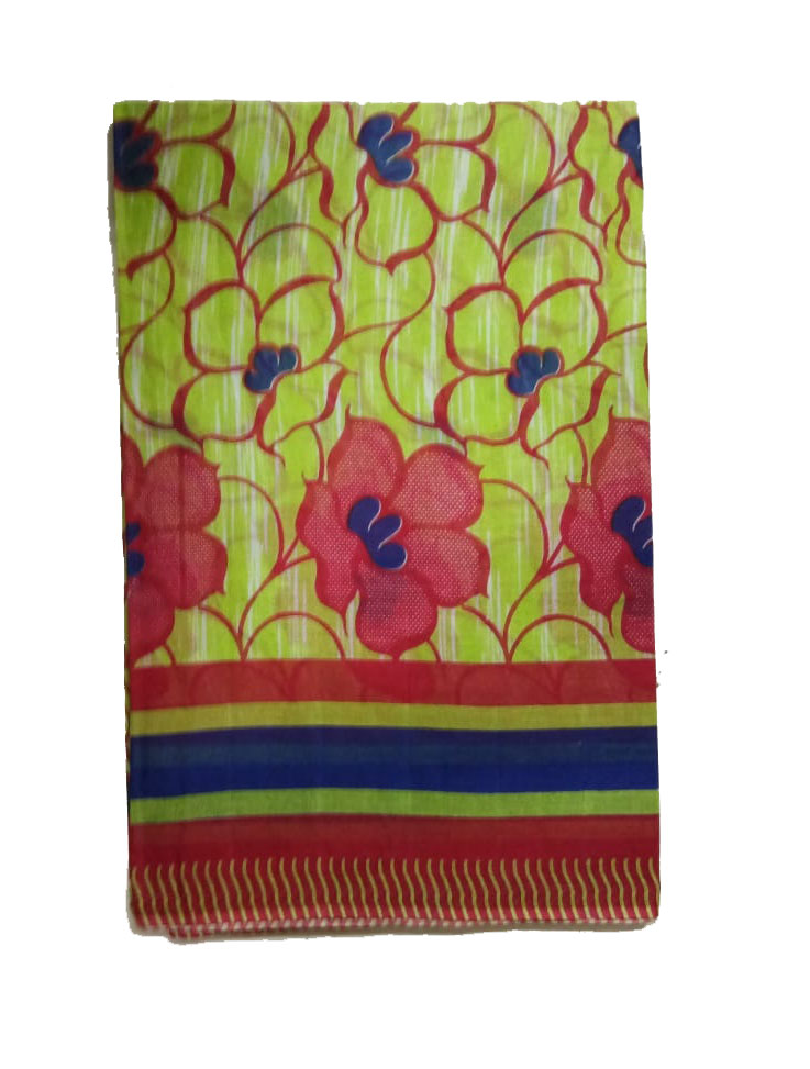 WMN COTTON SAREE WITHOUT BLOUSE-GREEN-AT JUNE CTN PRNT 05