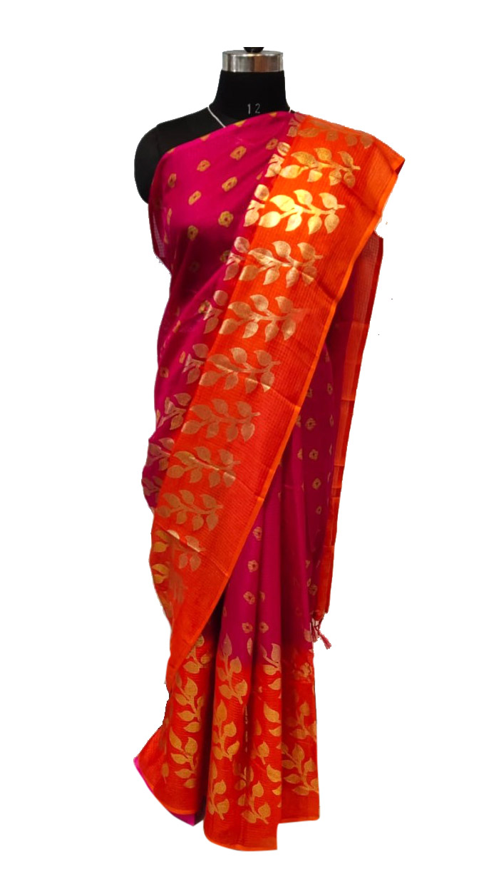 WOMEN SAREE WITH BLOUSE-ORANGE 2-DF SOFT COTTON 2019