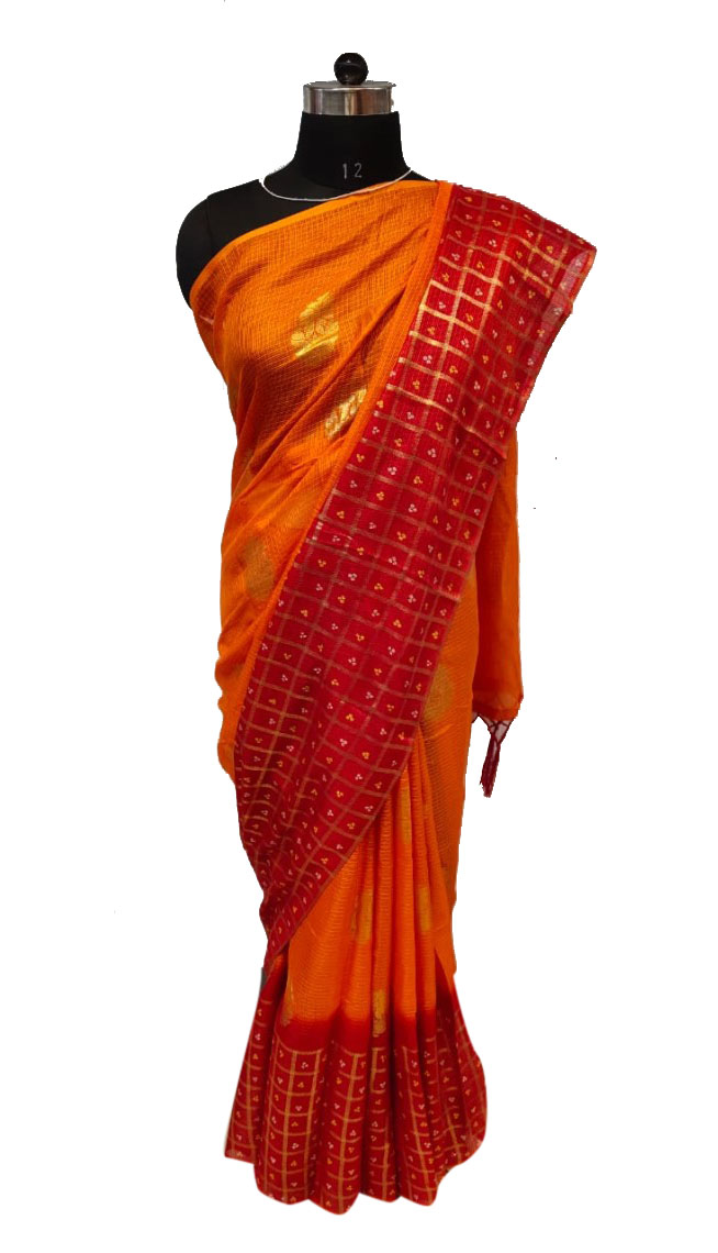 WOMEN SAREE WITH BLOUSE-ORANGE 5-DF SOFT COTTON 2019