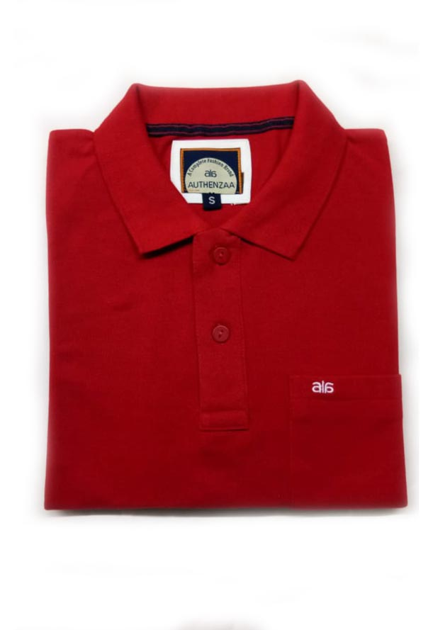 MEN'S FULL SLEEVES POLO T SHIRT-RED/WHITE-RC-STF-161
