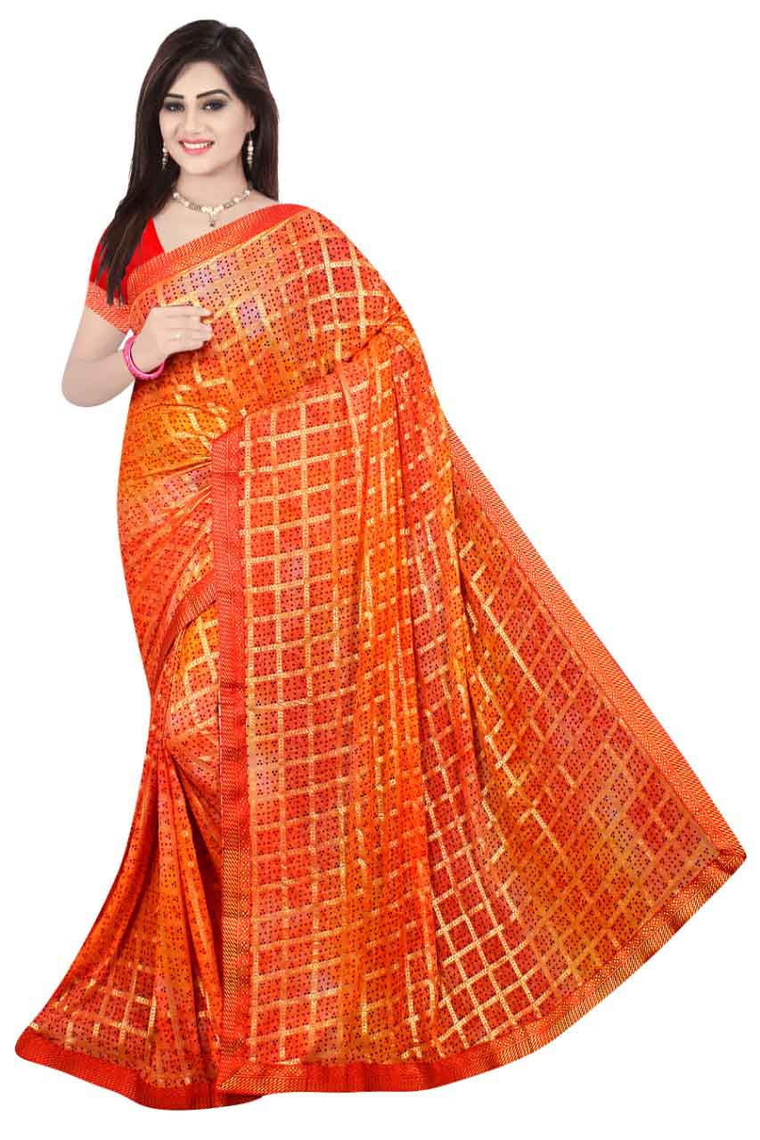 WOMEN SAREE WITH BLOUSE-LIGHT PEACH-DF DIGITAL BANDHANI