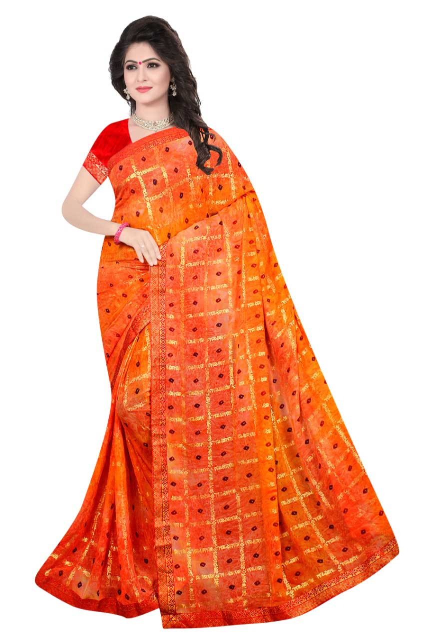 WOMEN SAREE WITH BLOUSE-PEACH RED-DF DIGITAL BANDHANI