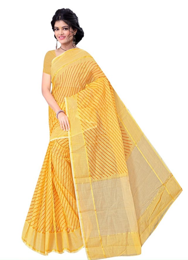 WOMEN SEMI COTTON SAREE WITH BLOUSE-YELLOW-DF QUEEN CITY