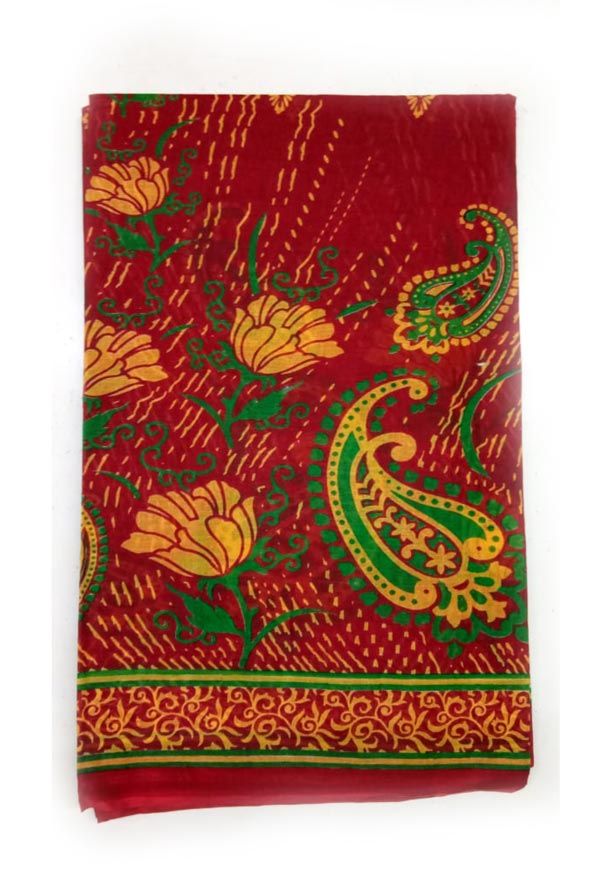 WMN COTTON SAREE WITHOUT BLOUSE-RED-AT JUNE CTN PRNT 13
