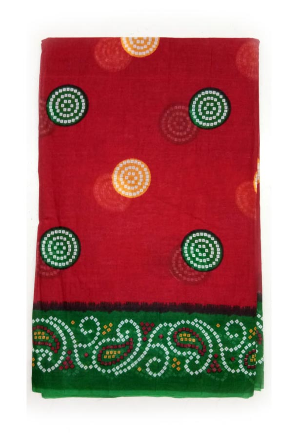 WMN COTTON SAREE WITHOUT BLOUSE-RED-AT JUNE CTN PRNT 17