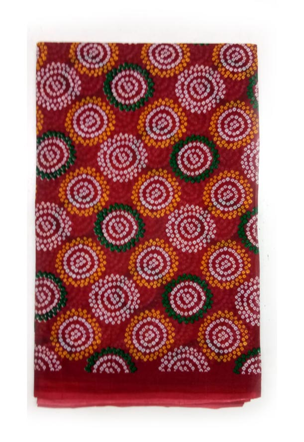 WMN COTTON SAREE WITHOUT BLOUSE-RED D NO 2-AT JUNE CTN PRNT 21