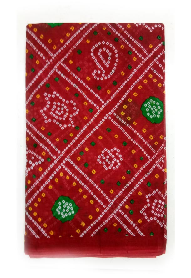 WMN COTTON SAREE WITHOUT BLOUSE-RED D NO 3-AT JUNE CTN PRNT 21