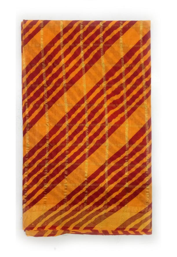 WMN COTTON SAREE WITHOUT BLOUSE-YELLOW RED-AT JUNE CTN CHECKS