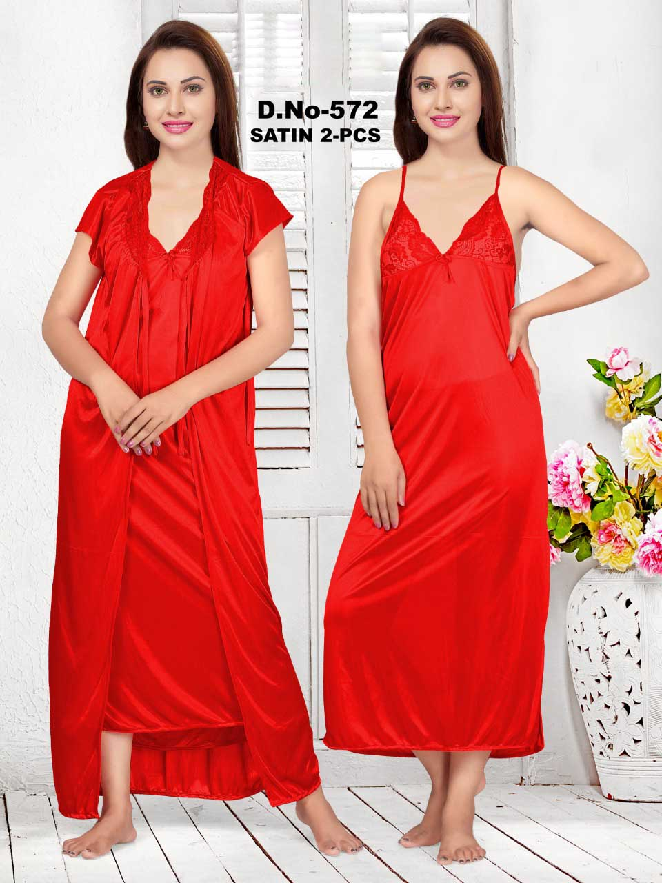 SATIN TWO PIECE NIGHTY-RED-KC JUNE 572