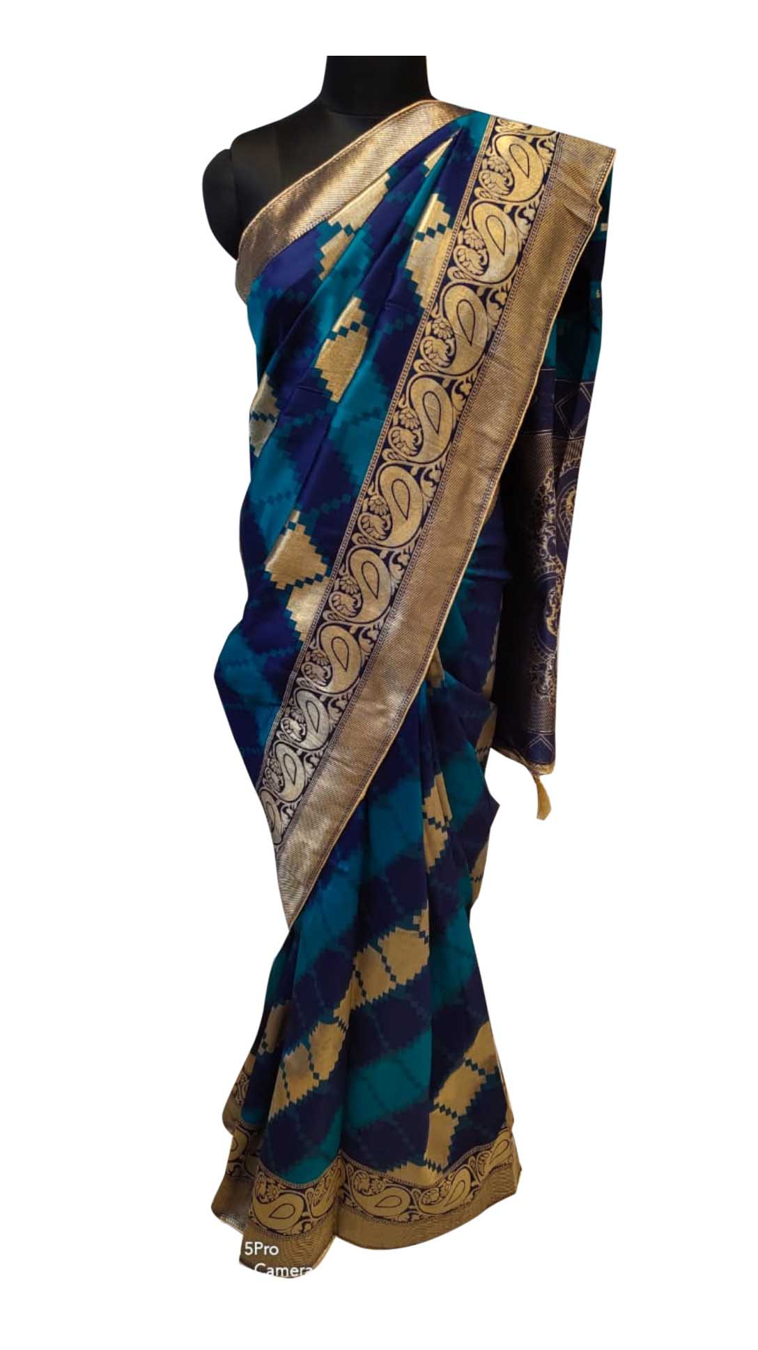 WOMEN SAREE WITH BLOUSE-GOLDEN NAVY-DF JACQUARD 02 2019