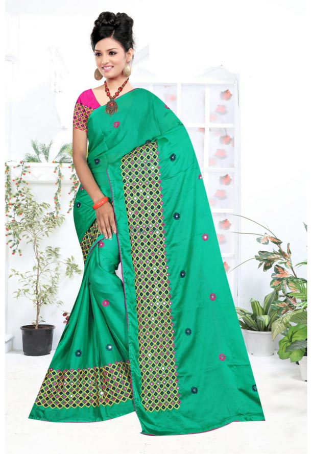 WOMEN SYNTHETIC CHIFFON SAREE WITH BLOUSE-PINK GREEN-DF LAVANYA 2019
