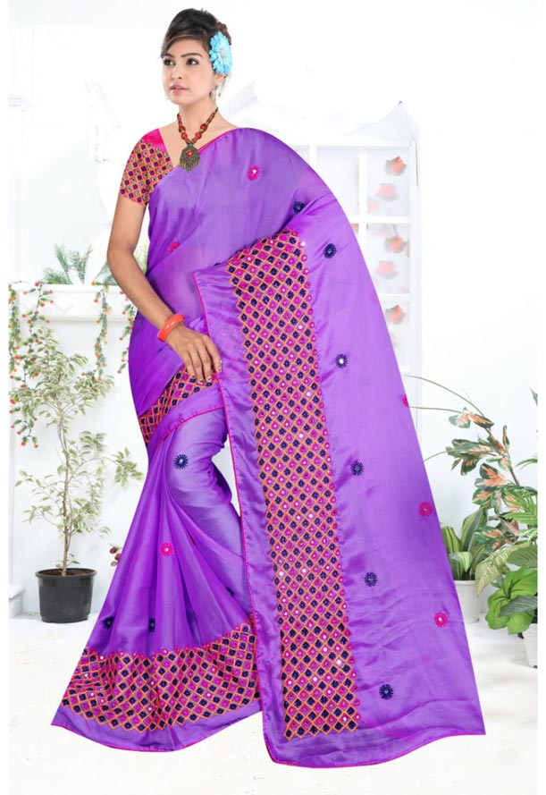 WOMEN SYNTHETIC CHIFFON SAREE WITH BLOUSE-PINK PURPLE-DF LAVANYA 2019