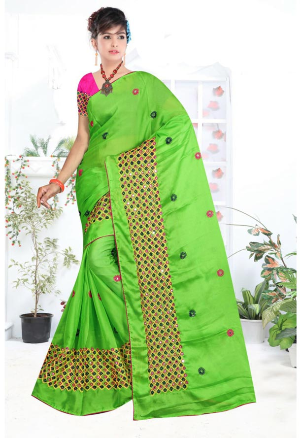 WOMEN SYNTHETIC CHIFFON SAREE WITH BLOUSE-PINK PARROT GREEN-DF LAVANYA 2019