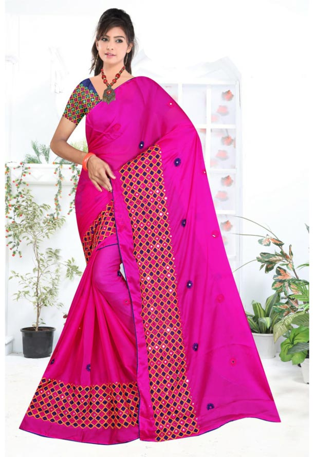 WOMEN SYNTHETIC CHIFFON SAREE WITH BLOUSE-NAVY PINK-DF LAVANYA 2019