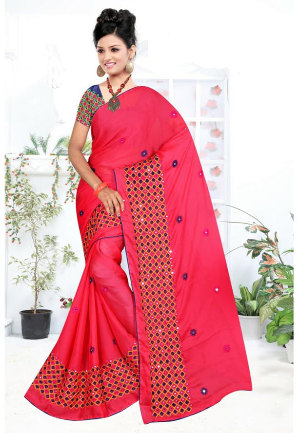 WOMEN SYNTHETIC CHIFFON SAREE WITH BLOUSE-NAVY DARK PINK-DF LAVANYA 2019