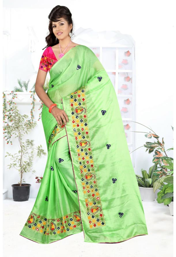 WOMEN SYNTHETIC CHIFFON SAREE WITH BLOUSE-PARROT GREEN PINK-DF RICH LOOK 2019