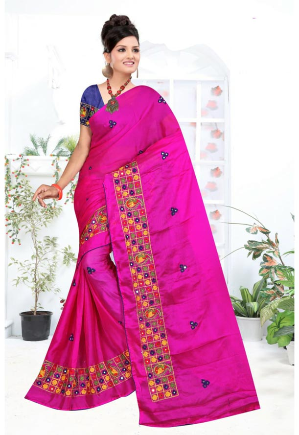 WOMEN SYNTHETIC CHIFFON SAREE WITH BLOUSE-PINK NAVY-DF RICH LOOK 2019
