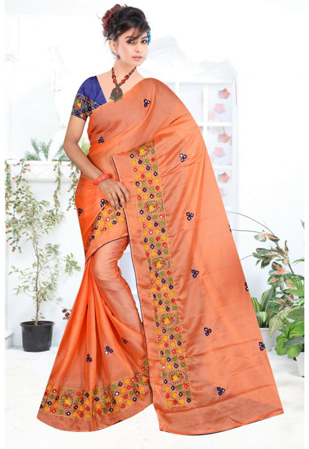 WOMEN SYNTHETIC CHIFFON SAREE WITH BLOUSE-PEACH NAVY-DF RICH LOOK 2019