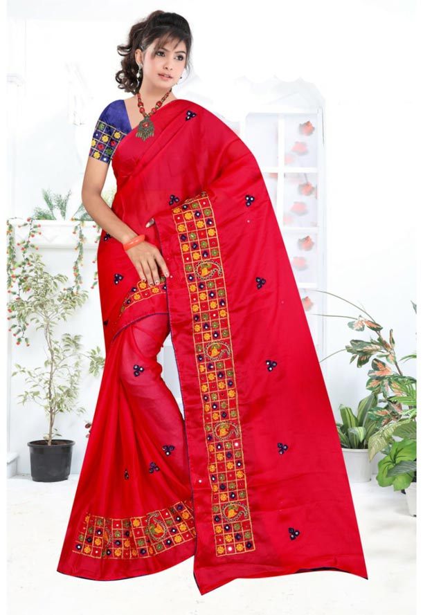 WOMEN SYNTHETIC CHIFFON SAREE WITH BLOUSE-DARK PINK NAVY-DF RICH LOOK 2019