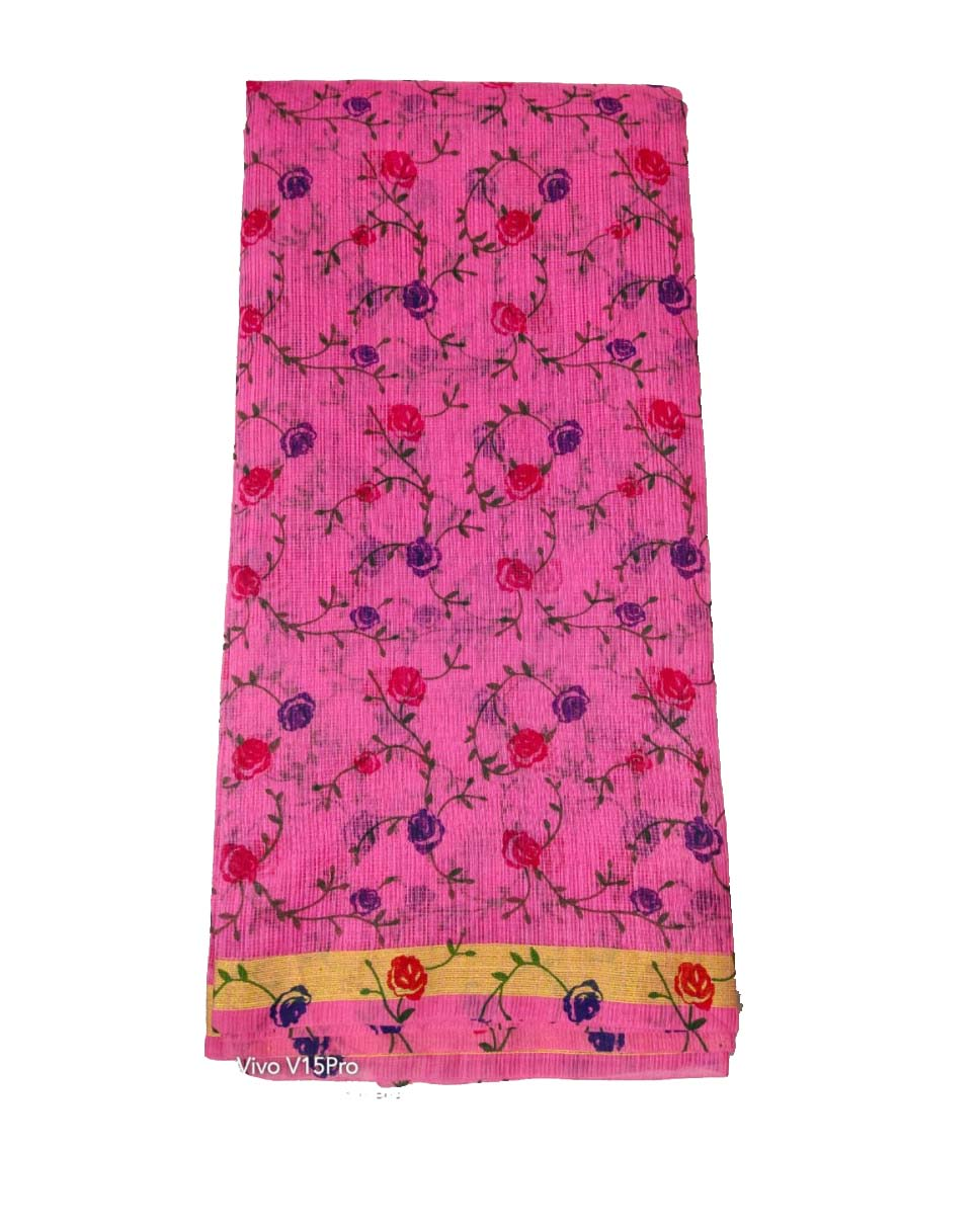 WOMEN SYNTHETIC DORIYA SAREE WITH BLOUSE-PINK-DF JULY SUMMER COOL 01